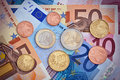 Euro Coins and Bills  Stock Photography