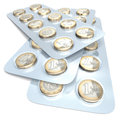 Euro coins in blister pack as medicine pills Stock Images