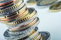 Euro coins euro money euro currency coins stacked on each other in different positions concept Royalty Free Stock Photos