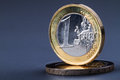Euro coins macro and cents Royalty Free Stock Image