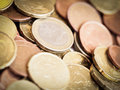 Euro coins a pile of different Royalty Free Stock Photography