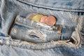 Euro coins in tin pocket Royalty Free Stock Photo