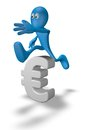 Euro crisis cartoon guy jumps over symbol d illustration Stock Photos