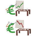 Euro crisis cartoon presenting investment results Stock Photos