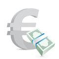 Euro currency bills exchange concept illustration design over white Stock Images