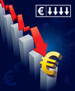 Euro currency crash illustration of financial graphs and symbols crashing to the floor Royalty Free Stock Image
