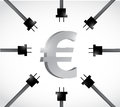 Euro currency and power cables illustration design over a white background Stock Photos
