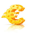 Euro currency sign made of yellow porous cheese Royalty Free Stock Photo