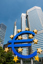 Euro currency symbol € - statue in Frankfurt am Main Germany Royalty Free Stock Photo