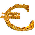 Euro currency symbol assembled with coins Royalty Free Stock Image