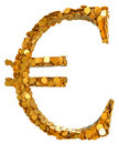 Euro currency. Symbol assembled with coins Stock Photos
