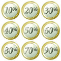 Euro discount buttons set of coins with different percentage discounts white background Stock Photos