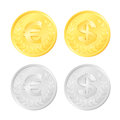 Euro and dollar coins gold silver colored of an eur usd currency Royalty Free Stock Images
