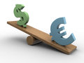Euro and dollar seesaw d illustration of symbols Stock Image