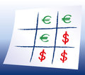Euro dollar tic tac toe naughts and crosses with and symbols a paper and pencil game with blue background gradient xs and os Royalty Free Stock Photo