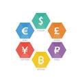 Euro Dollar Yen Yuan Bitcoin Ruble Pound Mainstream currencies symbols on shield sign.