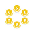 Euro dollar yen yuan bitcoin ruble pound mainstream currencies symbols on shield sign vector illustration graphic template isolat Royalty Free Stock Images