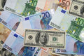 Euro and dollars banknote Stock Photography