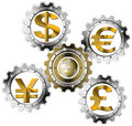 Euro dollars pound yen industrial gears currency symbols dollar and globe in metal Royalty Free Stock Photography