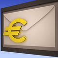 Euro on envelope shows european correspondence or international mailing Stock Images