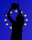 Euro flag and basketball player  Stock Image