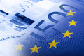Euro flag. Euro money. Euro currency. Colorful waving european union flag on a euro money background Royalty Free Stock Photo