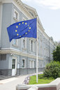 A euro flag in front of delegation of the european union to russia Royalty Free Stock Images