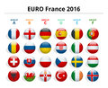 Euro 2016 in France. Flags of European countries participating to the final tournament of Euro 2016 football Royalty Free Stock Photo