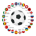 Euro 2016 France. Vector flags and groups. European football championship. Soccer tournament. Flags with country names. Royalty Free Stock Photo