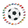 Euro 2016 France. Vector flags and groups. European football championship. Soccer tournament. Flags with country names Royalty Free Stock Photo