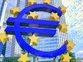Euro frankfurt symbol in germany Royalty Free Stock Photography