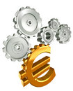 Euro golden symbol and metal cogs Royalty Free Stock Photo