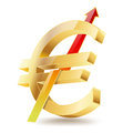 Euro golden symbol with raising arrow sign Stock Photography