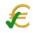 Euro with a green checkmark Stock Images