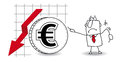 Euro is growing down fluctuation of the in the Royalty Free Stock Photo