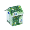 Euro house a made from one hundred bills isolated on white background Royalty Free Stock Image