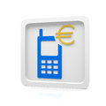 Euro mobile payment with a device Royalty Free Stock Photos
