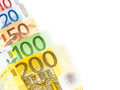 Euro money abstract banknotes in a row for your financial bonus cashback gifts and presents copy note that the is real and used Royalty Free Stock Image