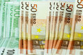 Euro Money Banknotes  Background - 50 and 100 bills Royalty Free Stock Photo