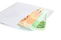 Euro money in an envelope on a white background Royalty Free Stock Image