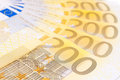 Euro money fan of two hundred banknotes Royalty Free Stock Photography
