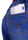Euro money in jeans pocket bank note cash blue of woman Royalty Free Stock Images