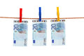 Euro Money Of The Rope Royalty Free Stock Photo