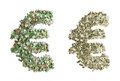 Euro money symbol the for created with banknotes one made with dollars banknotes the other with banknotes Royalty Free Stock Photography