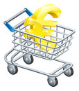 Euro money trolley concept currency of sign in a supermarket shopping cart or Stock Photography