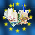 Euro money on the wire Royalty Free Stock Images
