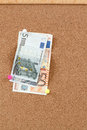 Euro moneys on cork board Royalty Free Stock Photography