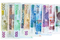 Euro and new polish zloty banknotes on white background with clipping path Stock Image