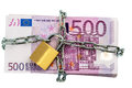 Euro notes with chain and padlock Royalty Free Stock Image