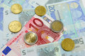 Euro notes and coins Royalty Free Stock Photo